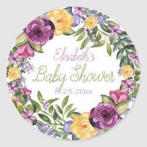 Watercolor Cascading Floral Bouquet Baby Shower Classic Round Sticker