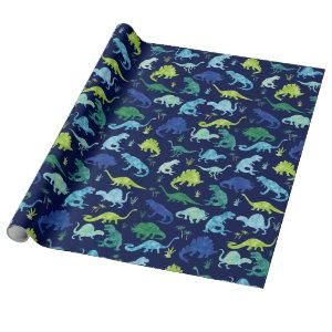 Watercolor Dinosaur Silhouette Green Blue Kids Wrapping Paper