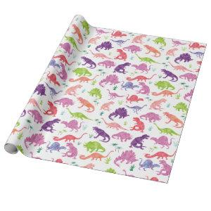 Watercolor Dinosaur Silhouette Purple Pink Kids Wrapping Paper