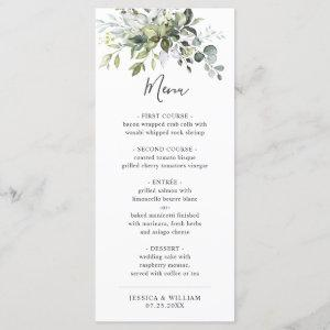 Watercolor Eucalyptus Greenery Wedding Dinner Menu