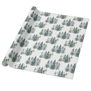 Watercolor Evergreen Christmas Tree Holiday Gift Wrapping Paper