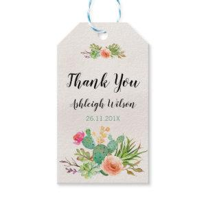 Watercolor Floral Cactus Baby Shower Tag