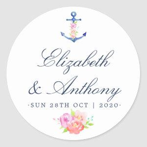 Watercolor Floral Nautical Wedding Classic Round Sticker