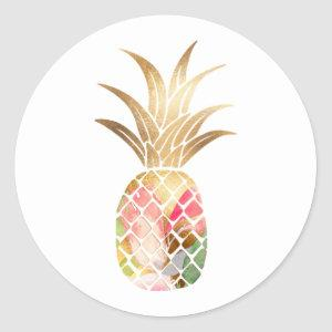 Watercolor Gold Pineapple Sticker