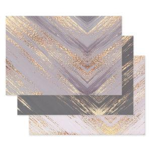 Watercolor gold pink gray metallic foil shine wrapping paper sheets