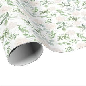 Watercolor Greenery and White Flowers Pattern Wrapping Paper