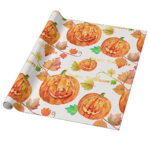 Watercolor Halloween Pumpkin Wrapping paper