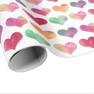 Watercolor Hearts - Love Wrapping Paper
