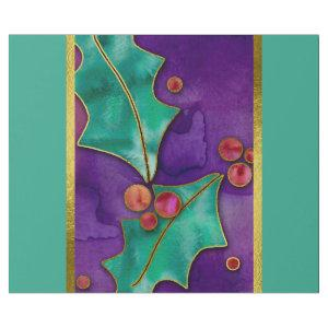 Watercolor Holly Berries Purple Green Red Holiday Wrapping Paper