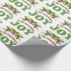 Watercolor Holly Christmas Joy Word Art Wrapping Paper