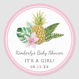 Watercolor Luau Baby Shower | Pink | Classic Round Sticker