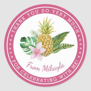 Watercolor Luau Thank You Favor Stickers