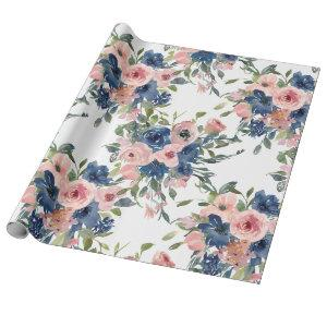 Watercolor Navy and Blush Floral Wrapping Paper