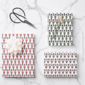Watercolor Nutcracker Soldiers in Red, Green, Blue Wrapping Paper Sheets