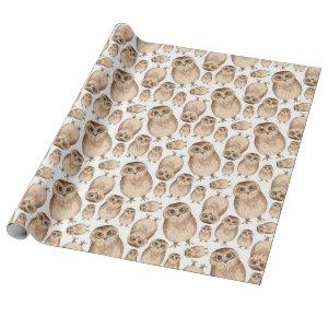 Watercolor owl pattern. Wild bird. Cute animal Wrapping Paper