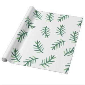 Watercolor Pine Needles Holiday Pattern Wrapping Paper