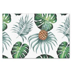 Watercolor Pineapple With Green Leaves Pattern Tissue Paper