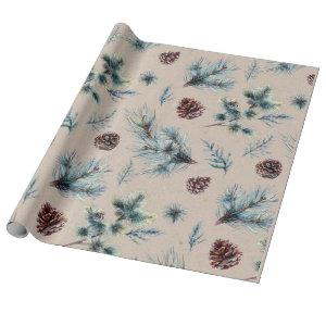 Watercolor Pinecone Sprigs Kraft Christmas Wrapping Paper
