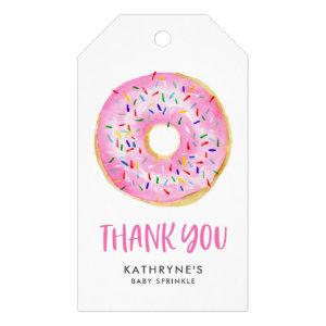 Watercolor Pink Donuts Baby Sprinkle Thank You Gift Tags
