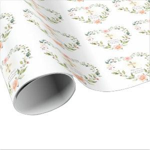 Watercolor Pink Flowers Gold Cross Girl Baptism Wrapping Paper