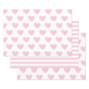 Watercolor pink hearts. Love. Blush Valentines Wrapping Paper Sheets