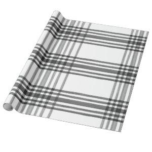 Watercolor Plaid Black and White Wrapping Paper