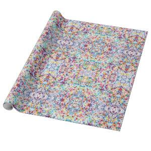 Watercolor polka dots pattern, kaleidoscopic wrapping paper