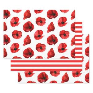 Watercolor poppies. Floral pattern. Red poppy Wrapping Paper Sheets