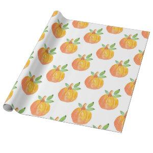 Watercolor Pumpkin Pattern Wrapping Paper