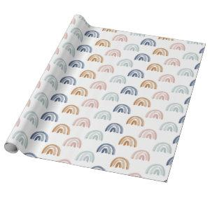 Watercolor Rainbow Rows in Earth Tones Wrapping Paper