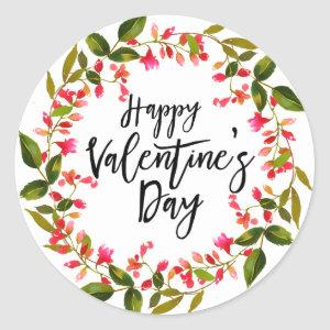 Watercolor Red Floral and Greenery Valentine Classic Round Sticker