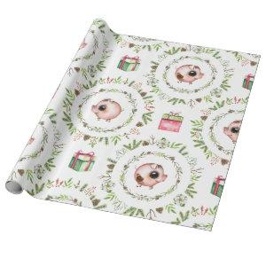 Watercolor Rustic Christmas Pigs Wrapping Paper