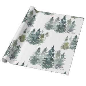 Watercolor Rustic Pine Trees Forest Snow Winter