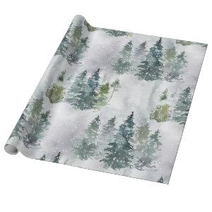 Watercolor Rustic Pine Trees Forest Snow Winter Wrapping Paper