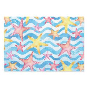Watercolor Starfish Sea Star Pattern Wrapping Paper Sheets