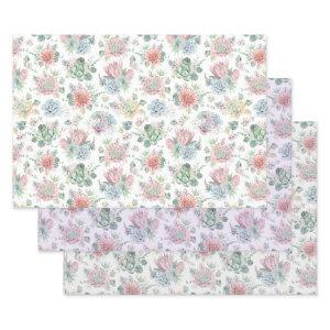 Watercolor Succulent Wrapping Paper Sheet Set