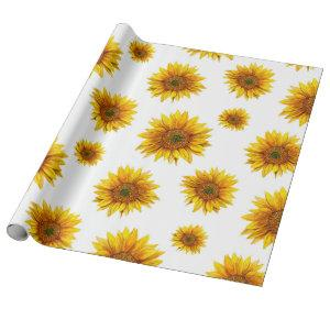 Watercolor sunflowers. Rustic floral pattern Wrapping Paper