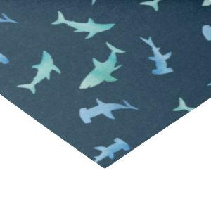 Watercolor Swimming Shark Silhouettes Pattern Tissue Paper