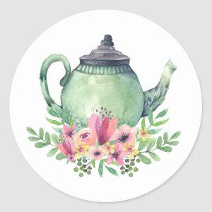 Watercolor Teapot with Floral Bouquet Classic Round Sticker