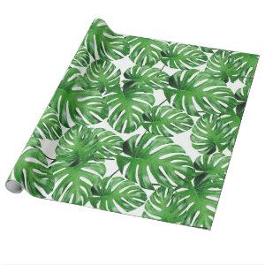 Watercolor Tropical Monstera Leaves Pattern Wrapping Paper