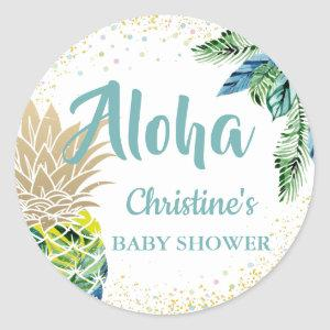Watercolor Tropical Pineapple Beach Baby Shower Classic Round Sticker