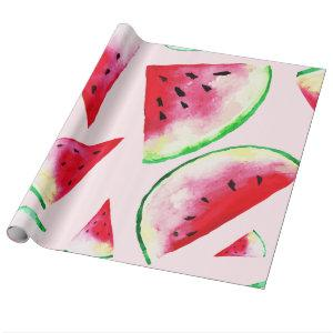 Watercolor Watermelon Slice Pattern Wrapping Paper