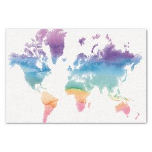 Watercolor World Map Tissue Paper