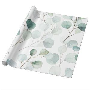 Watercolour Green Eucalyptus & Personalized Name Wrapping Paper