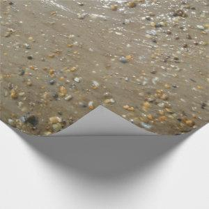 Water's Edge Stones Shells Beach Ocean Sand Summer Wrapping Paper