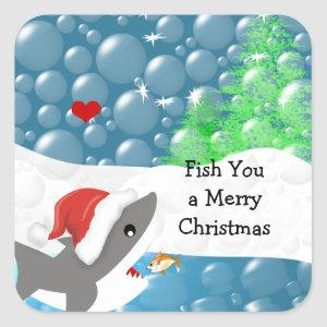 We Fish You A Merry Christmas Shark Square Sticker