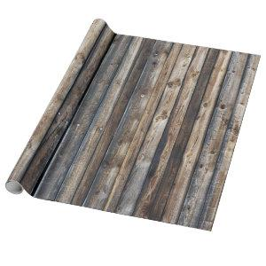 Weathered and Rustic Reclaimed Colorful Barn Wood Wrapping Paper