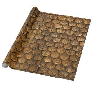 Weathered wall of wooden shingles wrapping paper