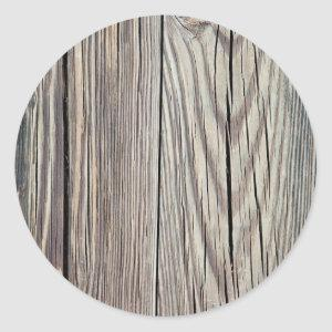Weathered Wood Plank w Grain Background Template Classic Round Sticker