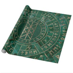 Web of Wyrd - Malachite, Leather and Gold Wrapping Paper